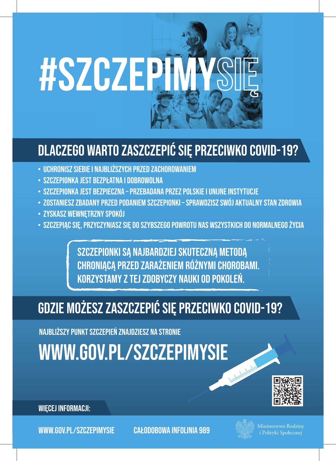 Plakat akcji promocyjnej #szczepimysię w ramach Narodowego Programu Szczepień