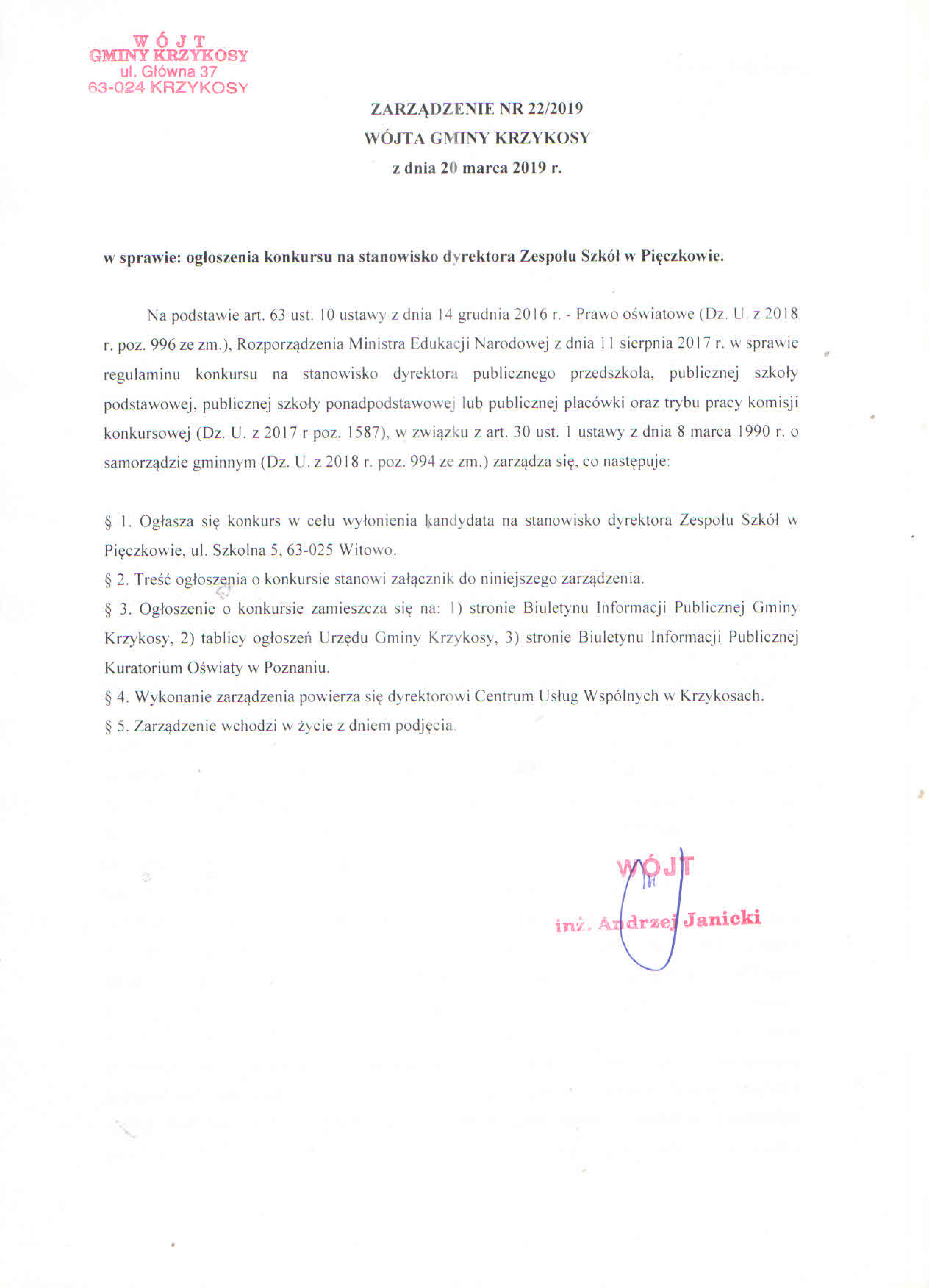 Gmina Krzykosy Informacje I Ogłoszenia